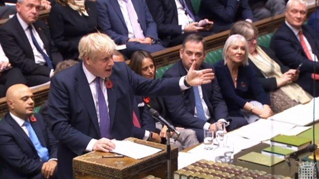 Boris Johnson no Parlamento nesta segunda-feira
