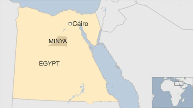 map of Cairo showing Minya province south of Cairo