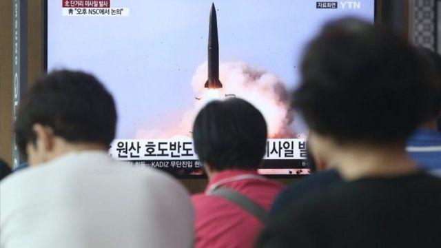 پخش خبر فوری آزمایش موشکی کره شمالی در ژوئیه ۲۰۱۹ در سئول