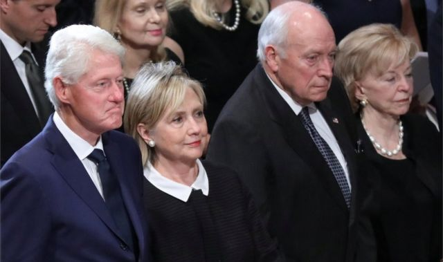 Bill and Hillary Clinton with Dick and Lynne Cheney