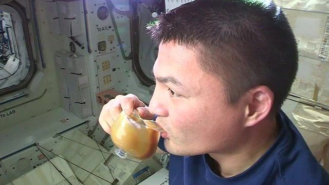 Astronauts try out new cups in space