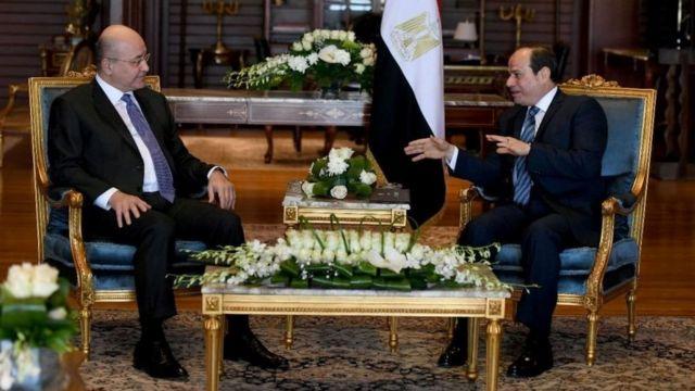 الرئيس المصري عبد الفتاح السيسي ورئيس العراق برهم صالح