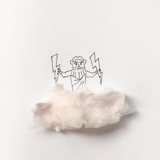 Dios sobre nube de algodón