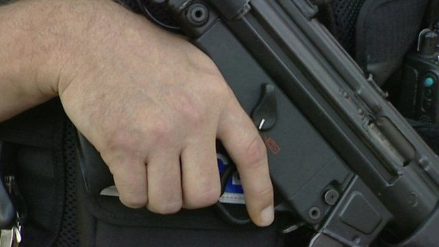 Police officer's hand holding a gun