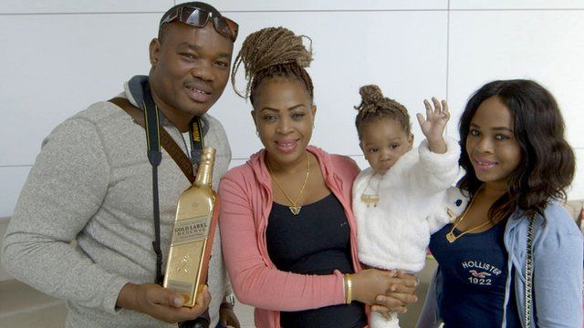 The Esochaghi famlly with their gold in Dubai