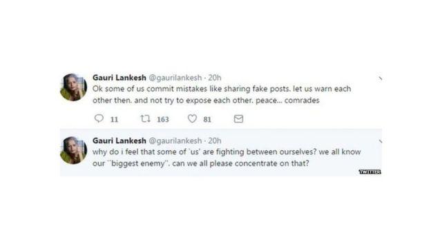 Late. Gauri Lankesh's Last tweet