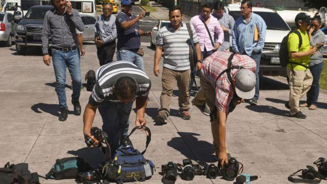 Protesta de periodistas salvadoreños