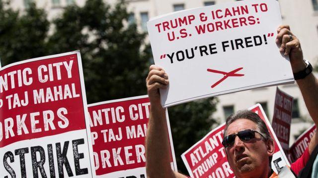 Protesta contra el cierre del Trump Taj Mahal