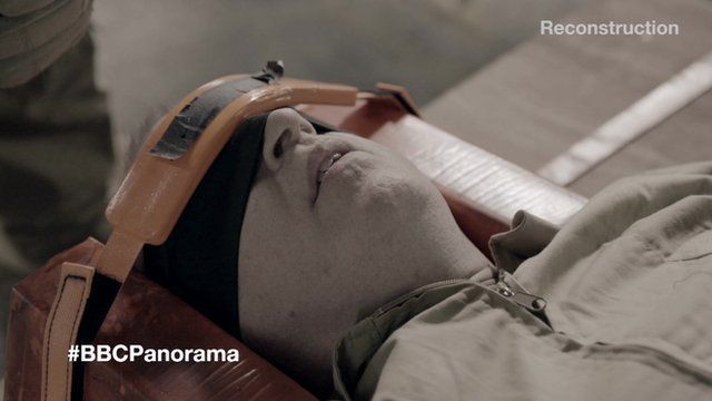 BBC Panorama programme witnesses the first accurate public demonstration of waterboarding