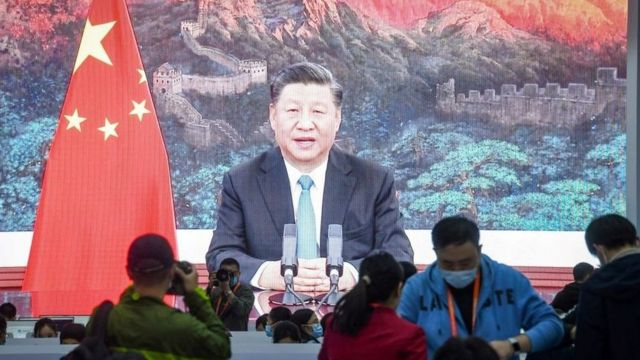 Chinese President Xi Jinping speaking at a conference earlier this month.