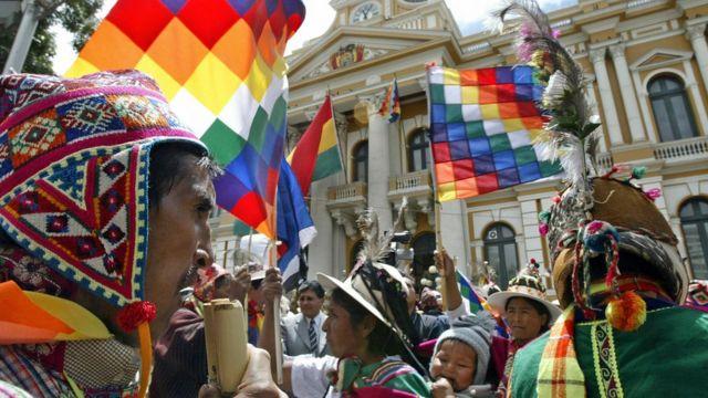Un mitin frente al Palacio de Gobierno de La Paz