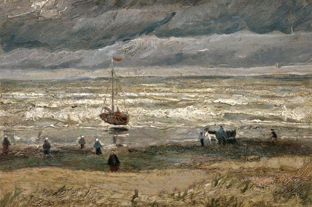 Vincent van Gogh, La playa de Scheveningen al desatarse la tormenta, 1882