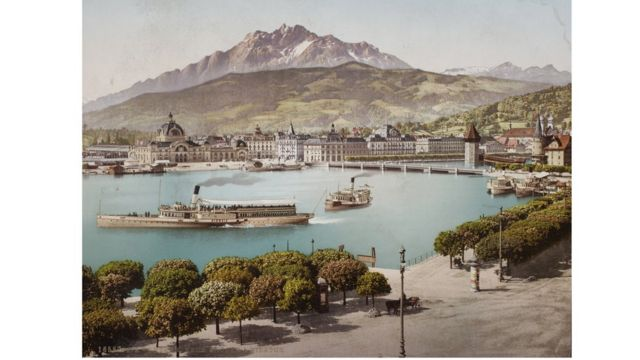 Lucerna, Suiza, foto tomada entre 1889 y 1902. Swiss Camera Museum Collections