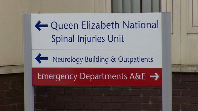 Sign for Queen Elizabeth Hospital spinal injuries unit