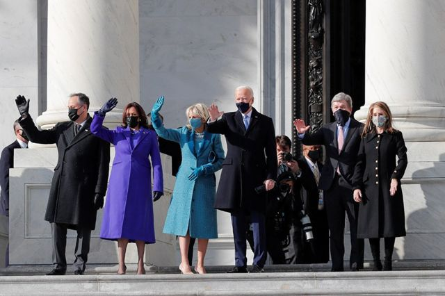 Joe Biden and Kamala Harris, with their spouses