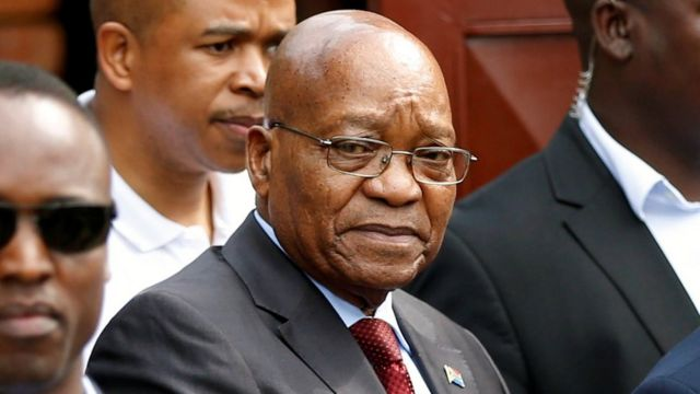 Jacob Zuma, former president of South Africa arrives at the home of the late Winnie Mandela in Soweto, South Africa