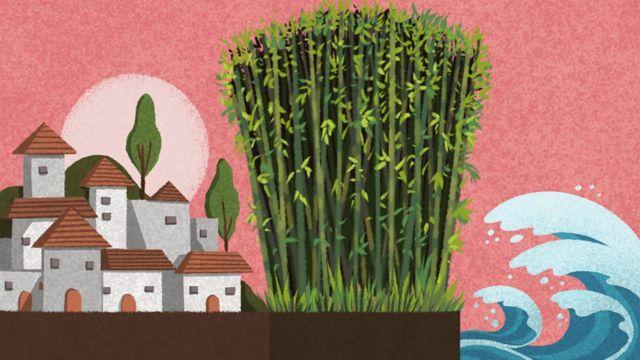 Ilustración de una aldea protegida de las olas del mar por un bosque de bambú