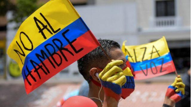Manifestante en Colombia