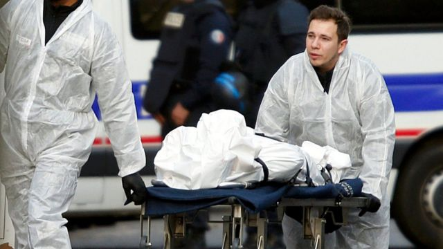 A body is removed from Bataclan, 14 November, 2015