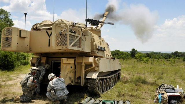 Soldiers fire an M109A6 Paladin self-propelled howitzer during live-fire training at Fort Hood, Texas, June 8, 2016. Mississippi Army National Guard photo by Staff Sgt. Shane Hamann