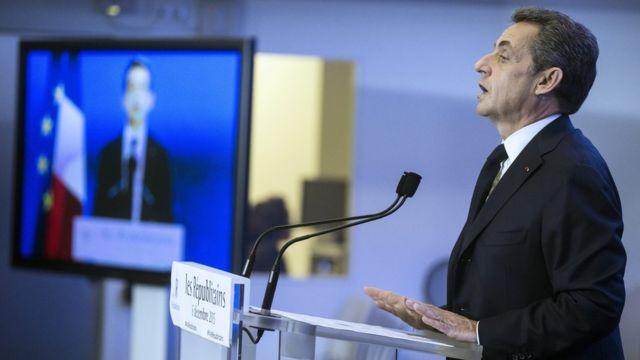 共和党のサルコジ前大統領(6日)