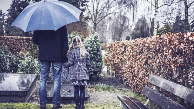 Hombre con niña frente a una tumba