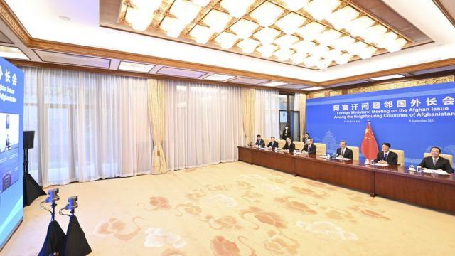 王毅以视频方式与巴基斯坦、伊朗、塔吉克斯等接连阿富汗国家的外长开会。