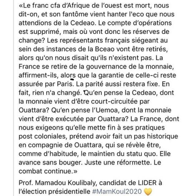 La réaction de Mamadou Koulibaly