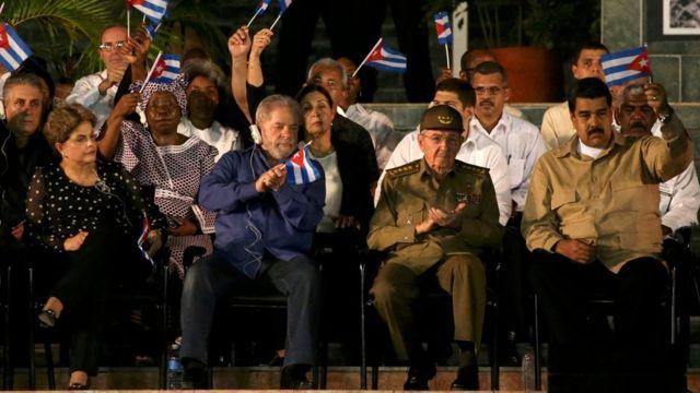 Dilma Rousseff, Lula da Silva, Raúl Castro y Nicolás Maduro.