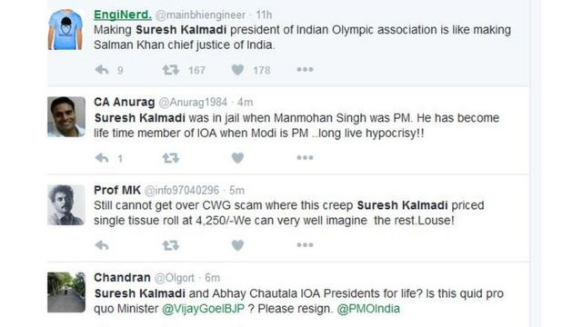 सुरेश कलमाडी पर ट्विटर घमासान