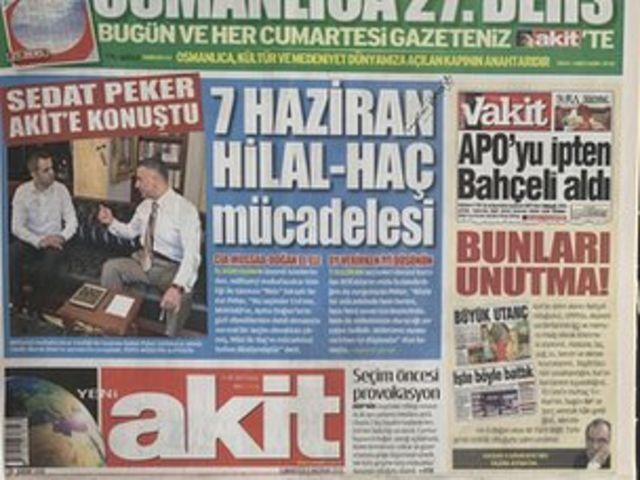 Akit gazetesi 7 Haziran 2015 seçimleri öncesi Peker'le bir röportaj yapmıştı.
