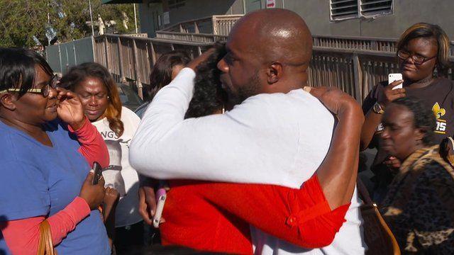 Robert Jones hugs mother on release