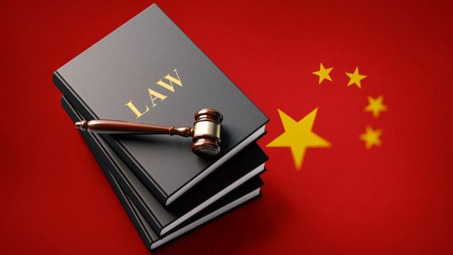Design photo of Chinese flag and law
