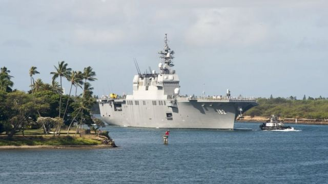 Japan Maritime Self-Defense Force destroyer helicopter ship JS Ise (DDH 182) enters Pearl Harbor in preparation for Rim of the Pacific (RIMPAC) exercise 2018.