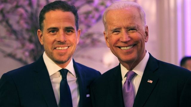 Joe (R) and Hunter Biden