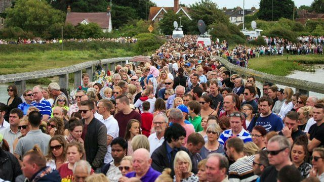 Hundreds gathered in Shoreham to remember those who died in the air crash.