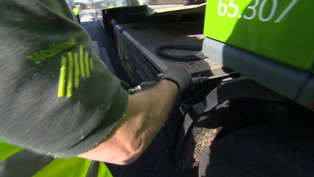 Lorry filling up on compressed natural gas