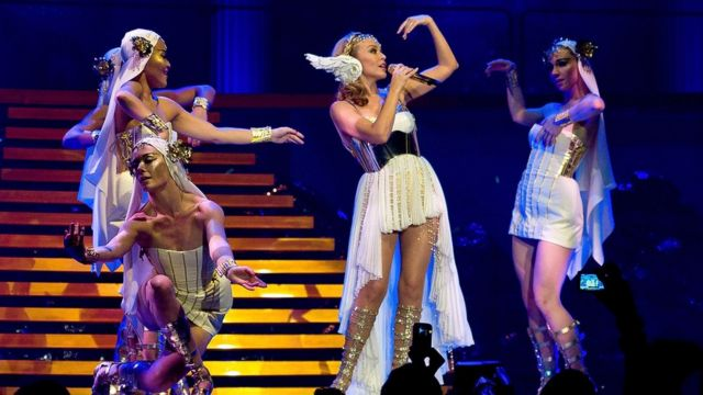 Kylie Minogue opens her world tour 'Les Folies Tour' at Herning MCH Multi Arena on 19 February 2011 in Herning, Denmark