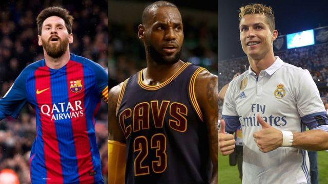 Lebron James, Cristiano Ronaldo y Lionel Messi