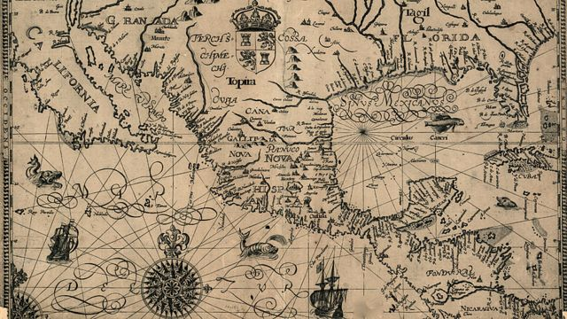Mapa do centro e parte da América do Norte em 1600