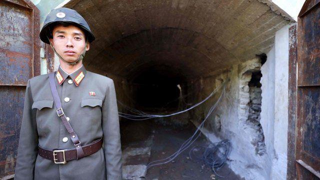 یکی از تونل هایی که کره شمالی در روز پنجشنبه منفجر کرد