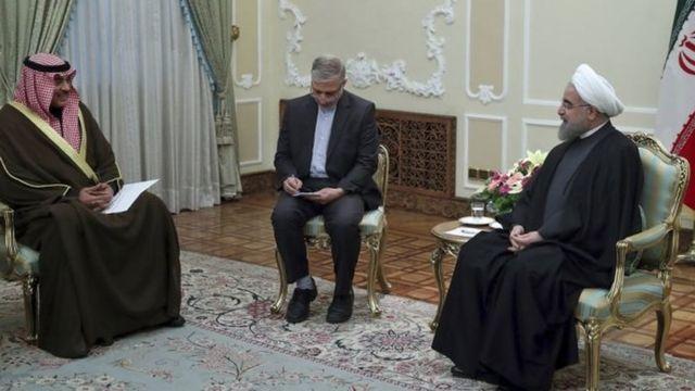 وزير الخارجية الكويتي والرئيس الإيراني حسن روحاني