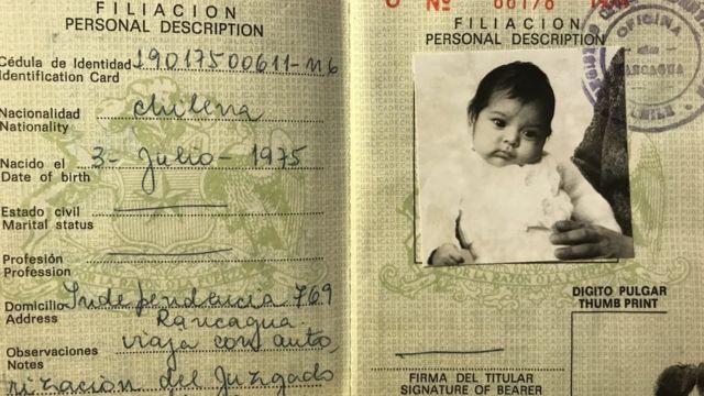 O passaporte de Maria com o qual ela viajou para a Suécia