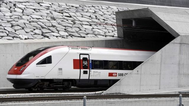 The first train enters the Gotthard rail tunnel, the longest tunnel in the world