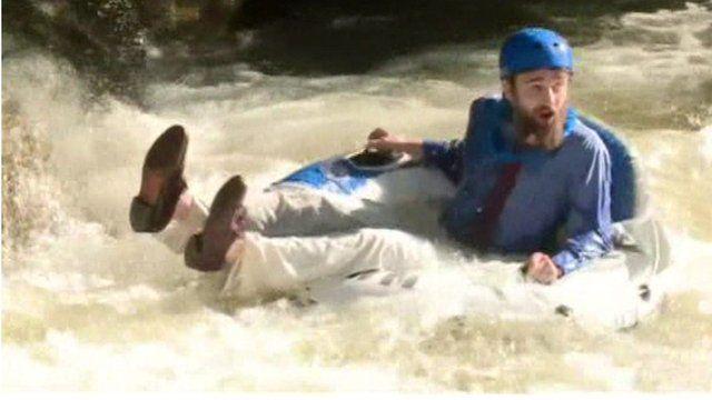 Commuter riding rapids