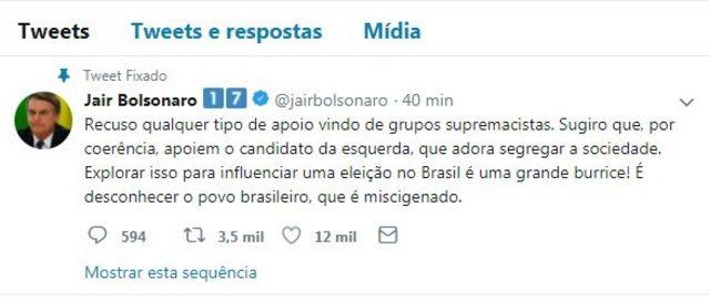 Bolsonaro tuitou contra o apoio de David Duke