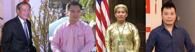 Từ trái, các cử tri gốc Việt Hoàng Đức Nhã, Trần Thái Văn, Hoàng Vi Kha và Kevin Trần