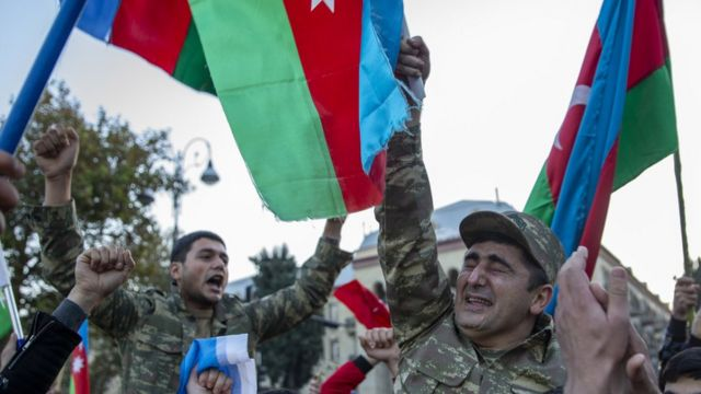 Azerbaijanis celebrating the victory after the end of the conflict.