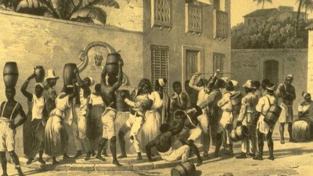 Escravizados urbanos coletando água no Brasil da década de 1830