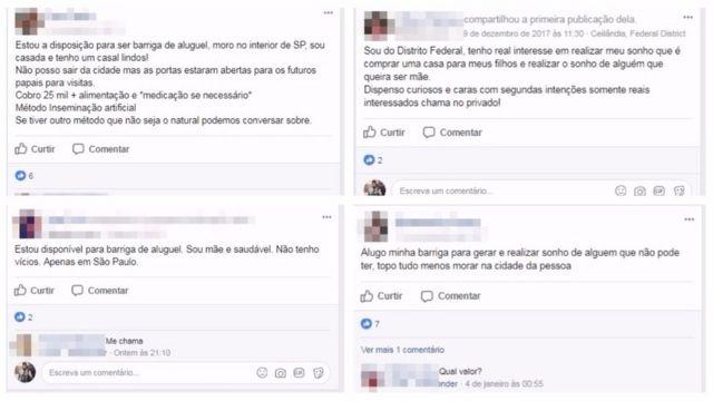Anúncios de barriga de aluguel no Facebook